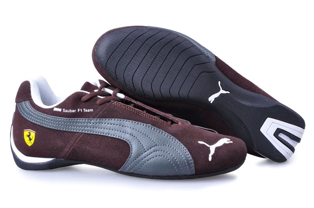 Men's Puma BMW Shoes Brown/Silver/White