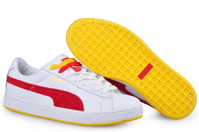 Men's Puma Basket II Sneakers White/Red/Yellow