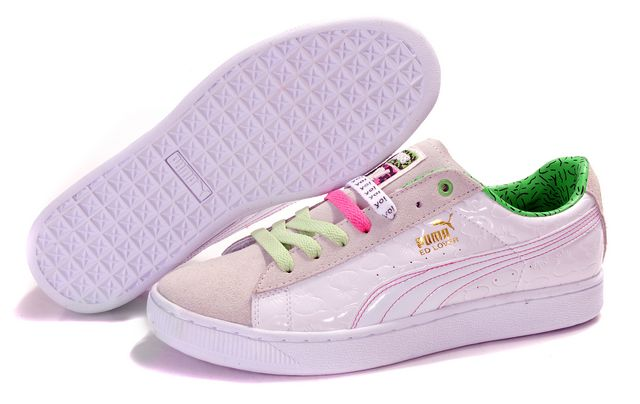 Puma Basket Shoes White/Tan/Green