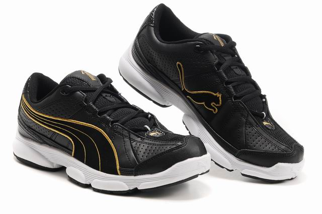 Puma Breathable Mesh Running Shoes Black/Gold