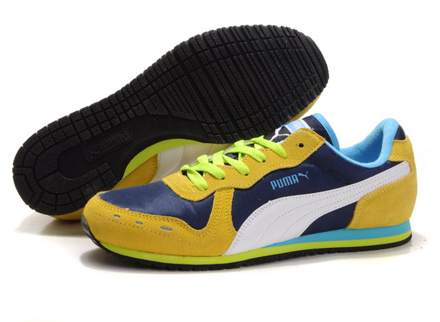 Puma Cabana Racer Shoes Blue/Yellow/White