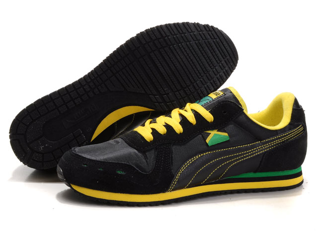 Women's Puma Cabana Racer Shoes Black/Grey/Yellow