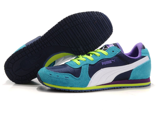 Women's Puma Cabana Racer Shoes Navy/Green/White