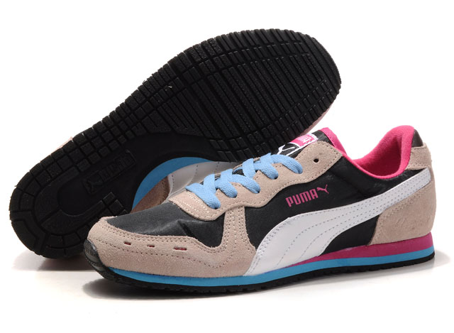 Women's Puma Cabana Racer Shoes Black/Beige/Blue