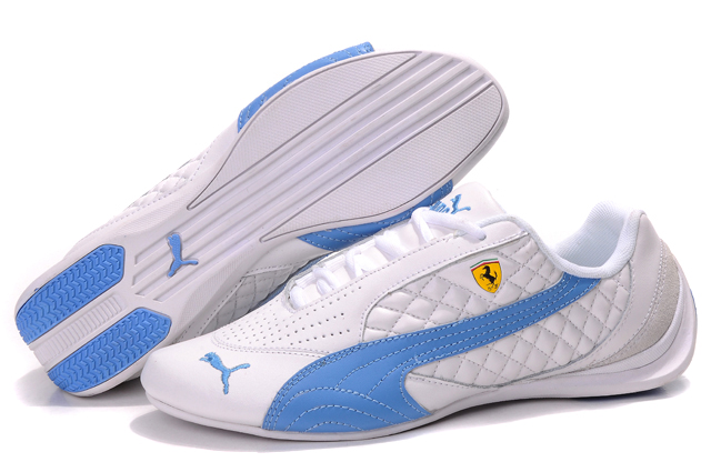 Women's Puma Ferrari Induction Sneakers White/Skyblue