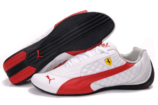 Men's Puma Ferrari Induction Sneakers White/Red/Beige