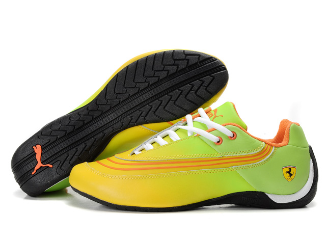 Women's Puma Ferrari Leather Shoes Green/Yellow/Orange