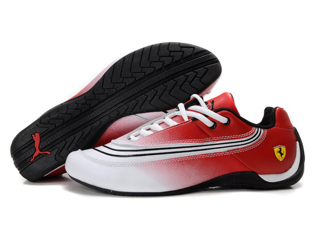 Puma Ferrari Leather Shoes Red/White/Black