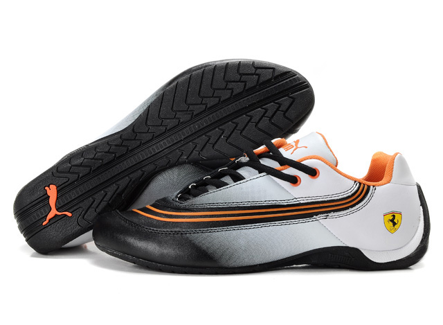 Women's Puma Ferrari Leather Shoes White/Black/Orange