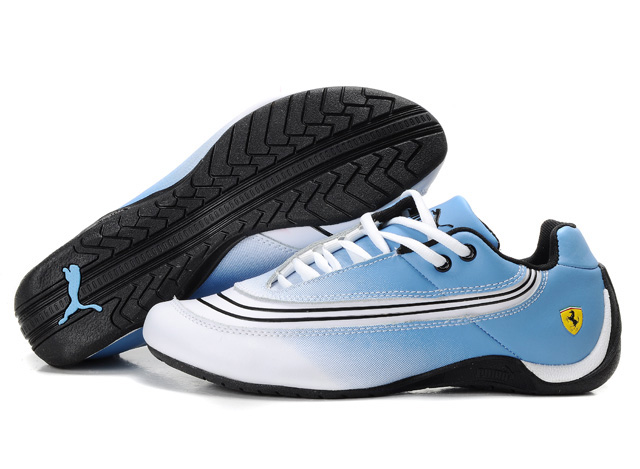Women's Puma Ferrari Leather Shoes White/Blue/Black