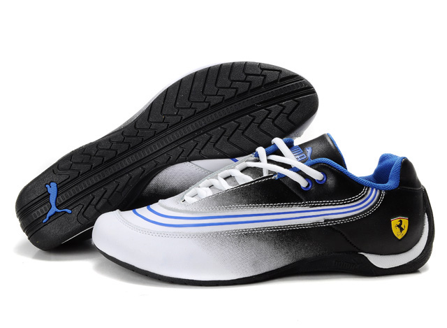 Men's Puma Ferrari Leather Shoes Black/White/Blue