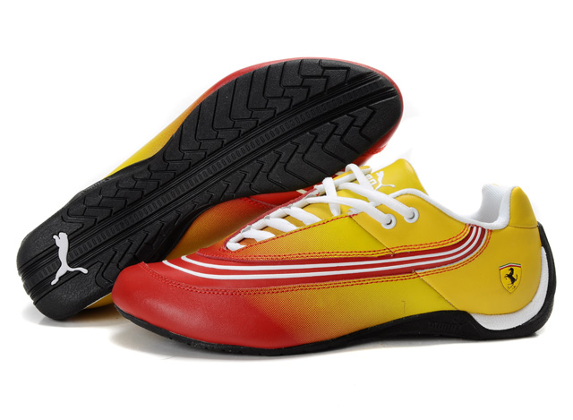 Men's Puma Ferrari Leather Shoes Yellow/Red/White