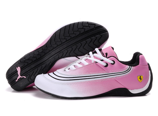 Women's Puma Ferrari Leather Shoes White/Black/Pink