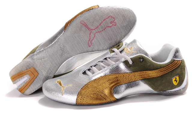 Puma Ferrari Purlish Shoes Silver/Gold/Olive