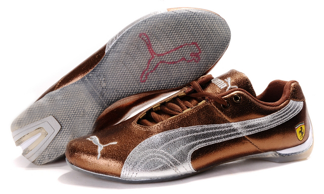 Puma Ferrari Purlish Shoes Gold/Brown/Silver