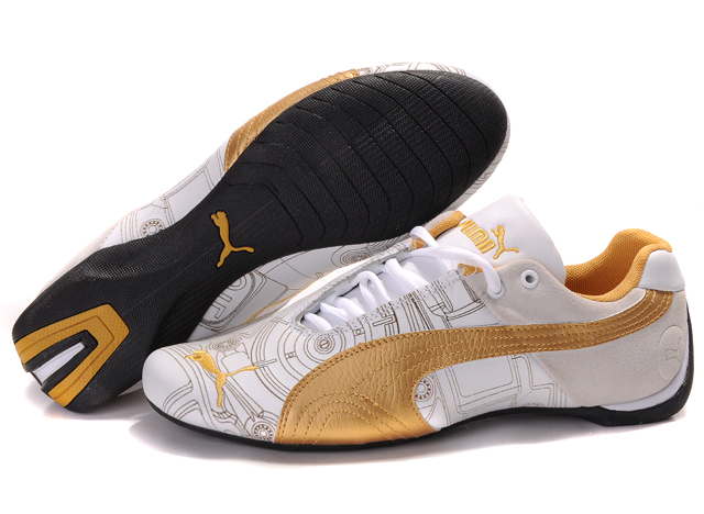 Women's Puma Future Cat Ferrari Sneakers White/Tan/Gold