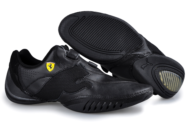 Men's Puma Leather Ferrari Shoes Black