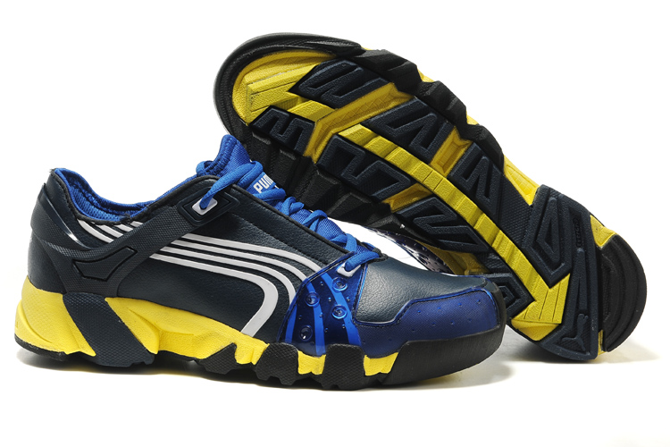 Puma Leather Running Shoes Black/Blue/Yellow