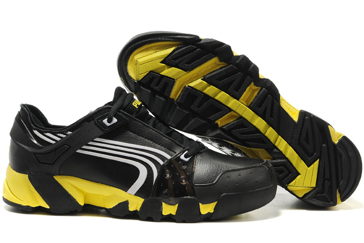 Puma Leather Running Shoes Black/White/Yellow