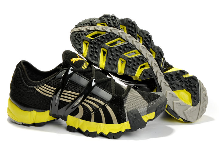 Men's Puma Mesh Running Shoes Black/Grey/Yellow