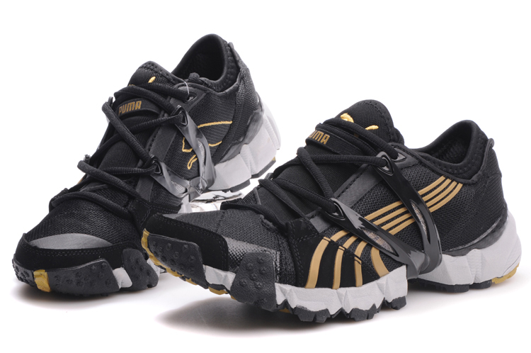 Puma Mesh Running Shoes Black/Gold/White