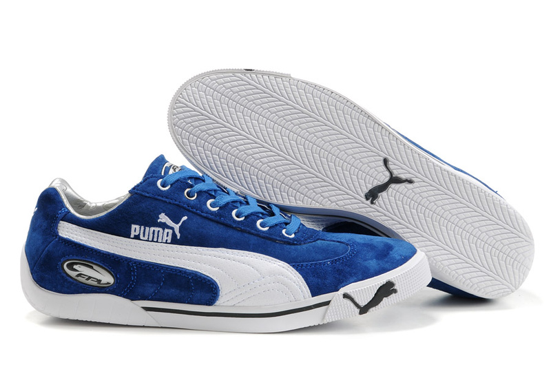 Puma Michael Schumacher Trainers Blue/White/Brown