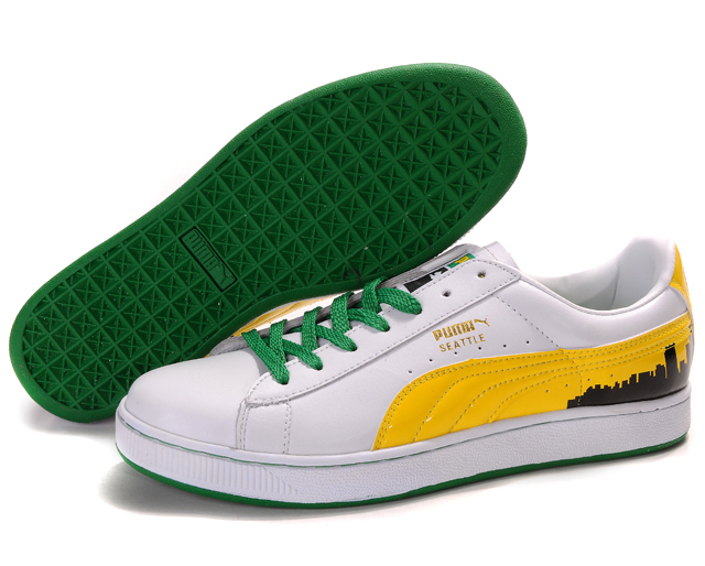 Puma Suede Fat Lace Shoes White/Yellow/Green