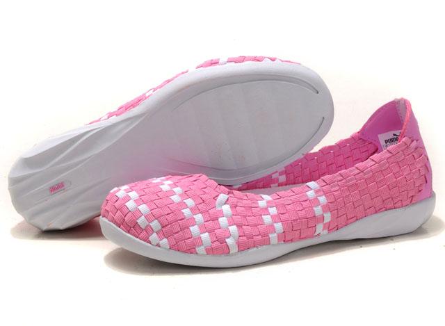 Women's Puma Woven Ballet Flats Pink/White