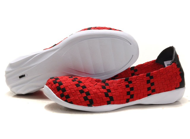Women's Puma Woven Ballet Flats Red/Black