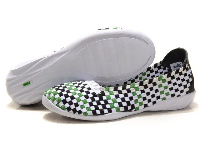 Women's Puma Woven Ballet Flats Black/Green/White