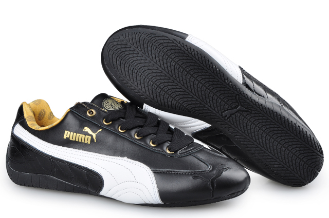 Men's Puma Speed Cat Leather Shoes Black/White